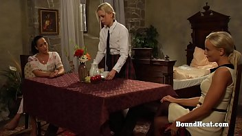 Petite Lesbian Slave Dominated In Threesome With Maid And Mistress