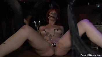 Redhead slut takes lezdom in public