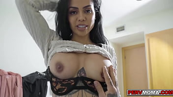 Stepson getting a boner seeing stepmom Canela Skins big titties