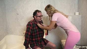 Hot old and young blowjob and pussy fucking with grandpa having sex with y. for first time