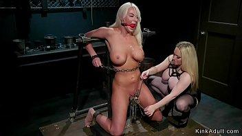 Huge tits mistress anal fucks busty blonde