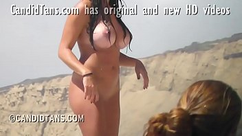 Beach group sex video Big busty fake tits exhibitionist girlfriend naked on the beach in public