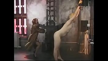 Horny slut ties up a big white guy and painfully hits him in the ass with a whip
