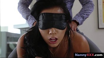 Naked lady on bed - Blindfold nanny morgan lee banged by her boss for extra cash