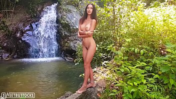Young sexy swimsuit - Tiny brunette posing naked in the forest - sweetbuttocks