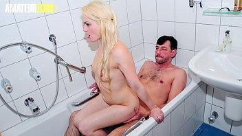 AMATEUR EURO - German Blondie Oxana Blows And Rides Cock In Bathroom