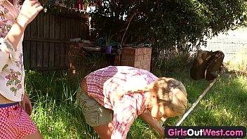Girls Out West - Skinny blonde lesbians in the backyard 8 min