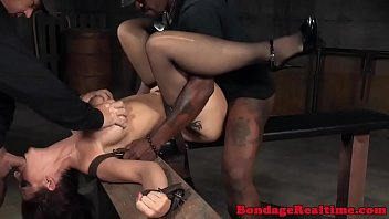 BDSM Oral Slave Roughly Spitroasted In Trio