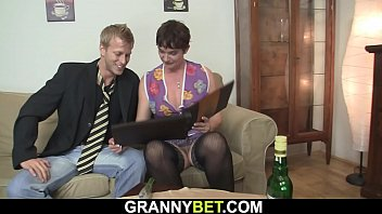 60 years old granny in stockings rides his big dick 6 min