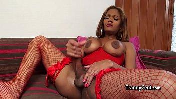 Ebony red lingerie tgirl plays solo