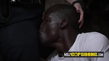 Interracial hardcore anal sex with two MILF cops with big tits!