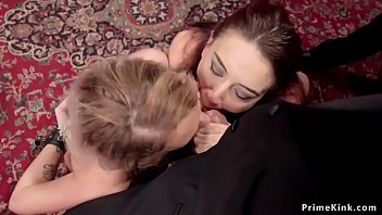 Slaves gets facial in bdsm orgy party