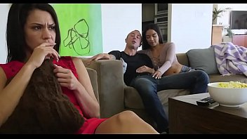 Step brother and sister handjob front mom