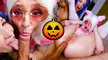 Lets meow meow hentai Halloween anal threesome sex scene from french porn actor jean-marie corda and his sexy tattoed halloween witches