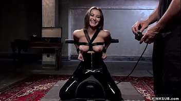 Slave trainee in latex mouth fucked