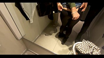 Blowjob in a public place. I tried things on and sucked my friend's cock in the fitting room.