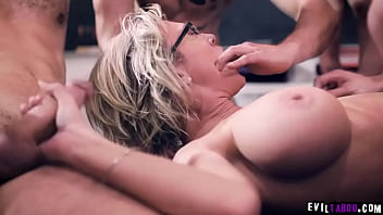 Watch an ultimate gangbang session with these horny unruly students as they take turns in fucking this MILF professor Dee Williams.