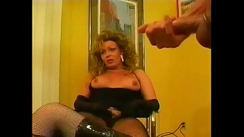 Old queer in female clothes and his his friend must take their medicine like  men from rugged brunette dominatrix in leather suit Tina Tyler