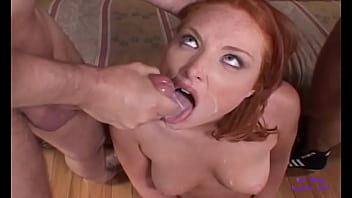 The slut calls two of her friends to get her every hole fucked
