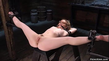 Chained blindfolded blonde tormented