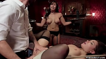 Asian and brunette bound fucked