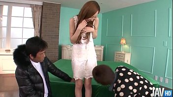 Asian hot pantie teen Erena aihara looks so sweet in a cream lace dress with panties that match