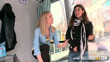 Freud box sex - Hot julia roco and sicilia play with a realistic dildo in public