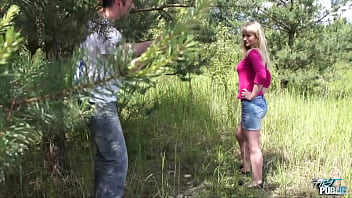 Horny blond babe Kristyna showing her awesome big tits during her very first public fuck ever 28 min