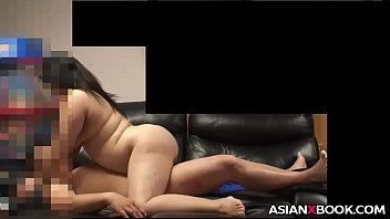 Chubby asian babe rides dick