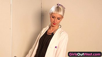Girls Out West - Lesbian squirting at the doctor's office 7 min