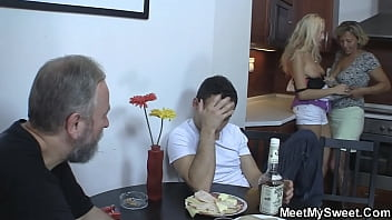 Meeting with his old parents leads to family threesome