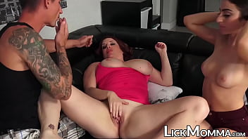 Big tits mom rides rock hard dick with naughty stepdaughter