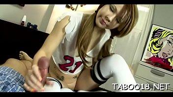 Spicy blond teen enoys giving a sensual blowjob and handjob