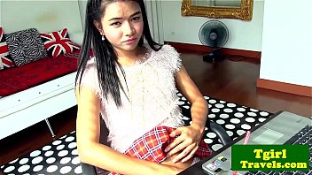 Schoolgirl ts Poopae plays with her cock