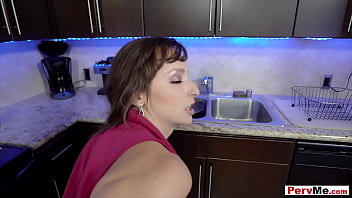 My busty stepmother uses me a replacement cock