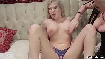 Blonde lezdom anal fucks busty slut