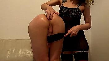 iliketobeaslut - He cum while she fucks his ass with a big dildo