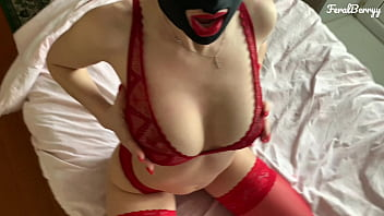 Amateur blowjob and ass fuck in a nylon mask and with red lips/FeralBerryy 6分钟