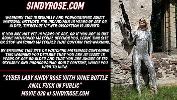 Cyber lady Sindy Rose with wine bottle anal fuck in public