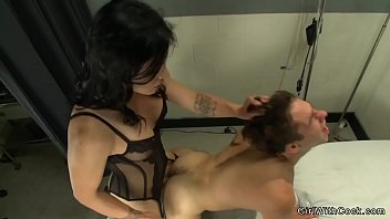 Shemale in black see-through lingerie Tranny nurse in lingerie bangs hot patient