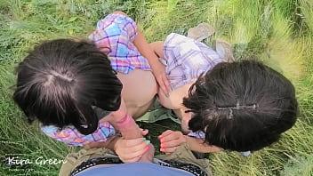 Outdoor blowjob, cumshot on tongue, Sucking After Cumming - pov ffm Threesome Amateur Teen Kira Green