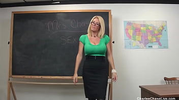 Sexual Ed Teacher Charlee Chase Gets Her Student's Cum On Her Tits!