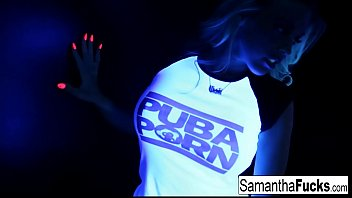 Samantha gets off in this super hot black light solo