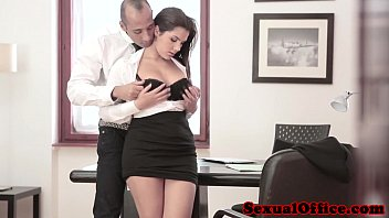 Office girl upskirt Busty office spex babe gets cumshot on tits