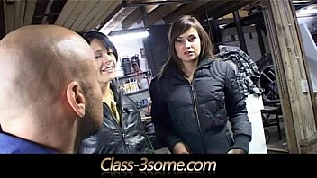 Two brunette sluts pay the mechanic with threesome 6 min