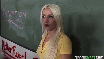 blonde schoolgirl gets fucked in the detention room 5 min