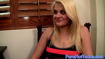 18 years old blonde Miss Dallas  ID get fuck first time for old guy in interview