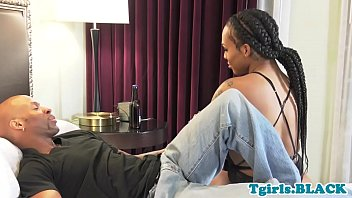 Tattooed ebony TS gets doggystyle plowed