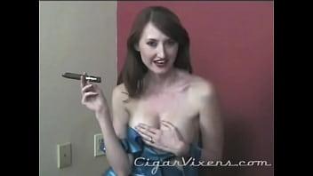 Kendra James SMOKES a Cigar