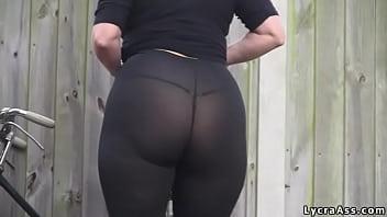 Sexy big ass in transparent lycra leggings tights & thong thumbnail